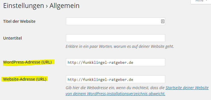 Wordpress - Einstellungen - Allgemein - WordPress Adresse & Website Adresse