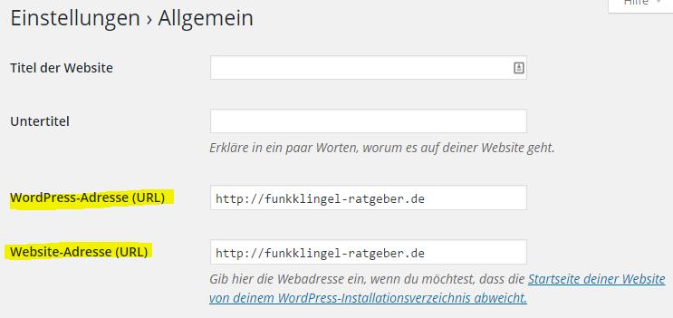 Wordpress - Einstellungen - Allgemein - WordPress Adresse & Website Adresse