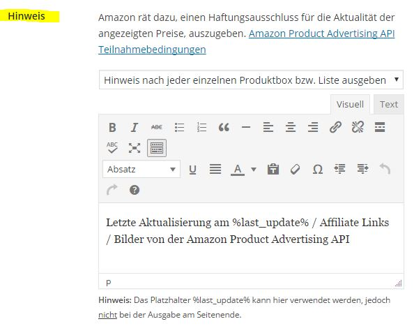 Amazon Affiliate for WordPress - Allgemein - 2
