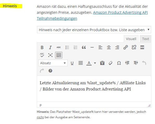 Amazon Affiliate for WordPress - Allgemein - 2