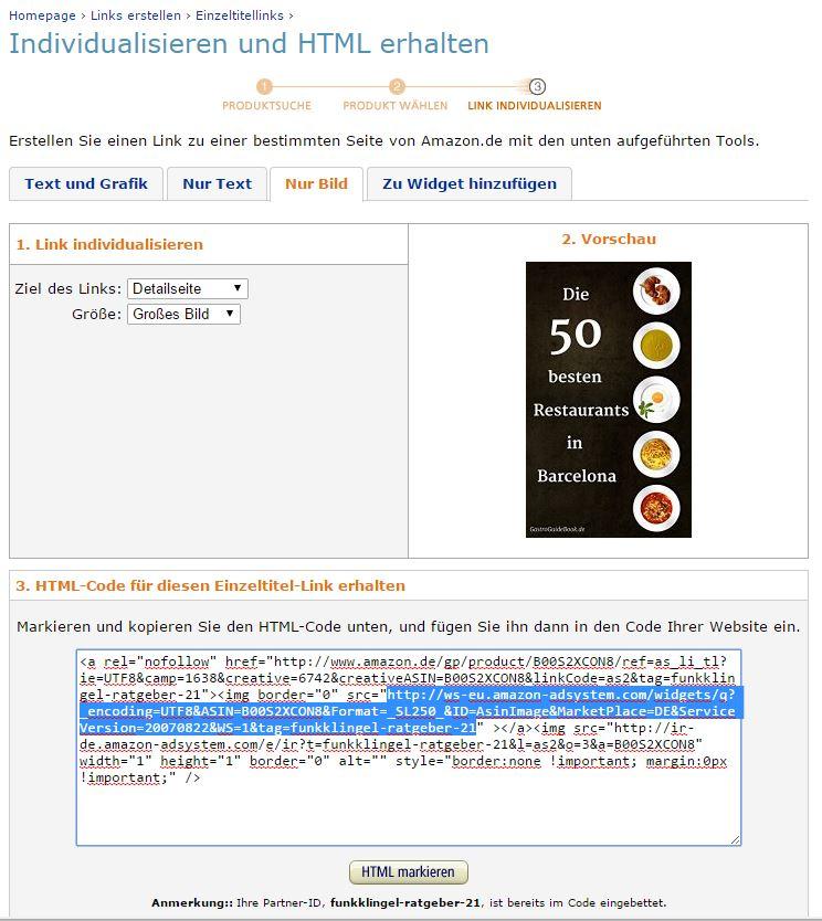 Amazon - Einzeltitellinks - Nur Bild - Bild URL aus HTML Code