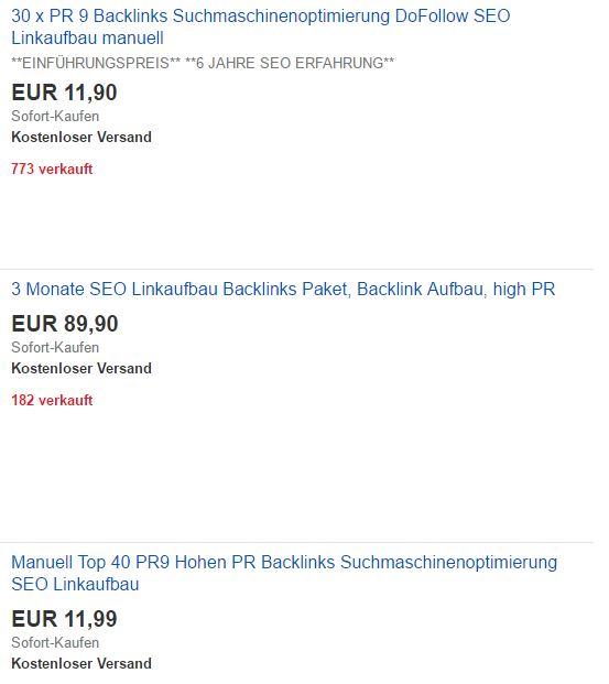 Backlink Pakete bei Ebay