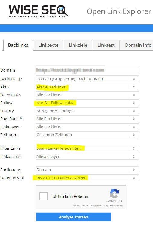 Open Link Explorer - WISE SEO - Einstellungen vor der Analyse