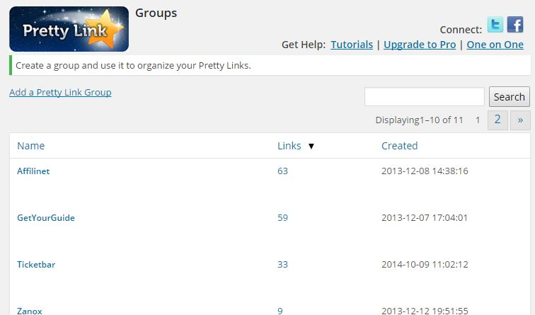 Pretty Link Lite - Groups