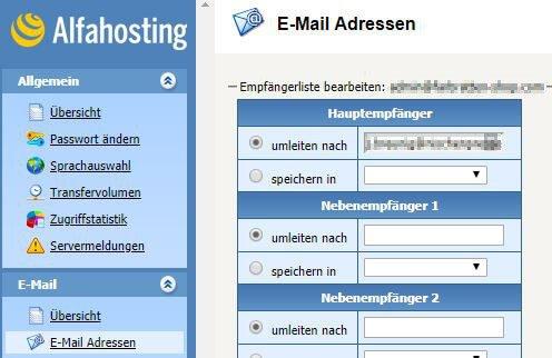 Alfahosting - Confixx-Adminbereich - E-Mail Adressen - Empfängerliste bearbeiten