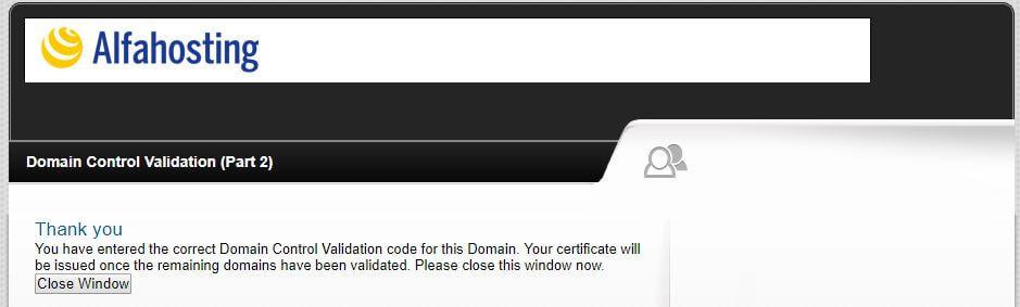 Alfahosting - Domain Control Validation abgeschlossen