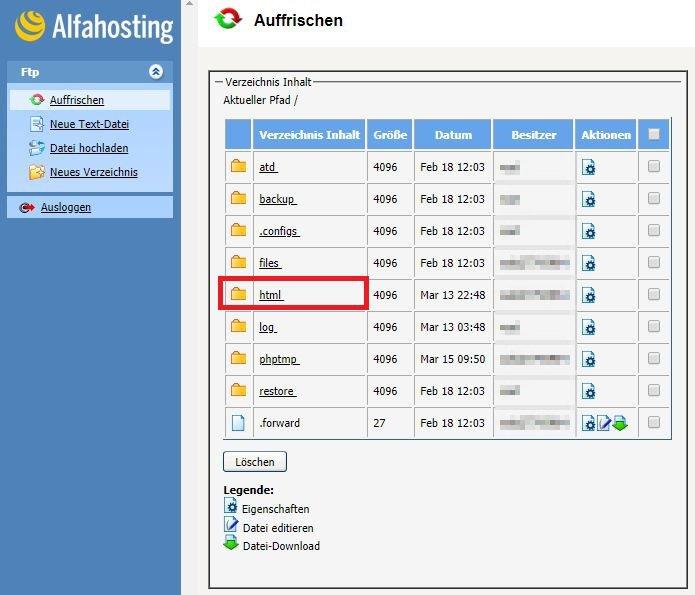 Alfahosting - FTP - Verzeichnis