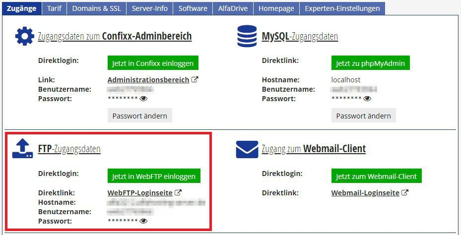 Alfahosting - Zugänge - FTP Zugangsdaten