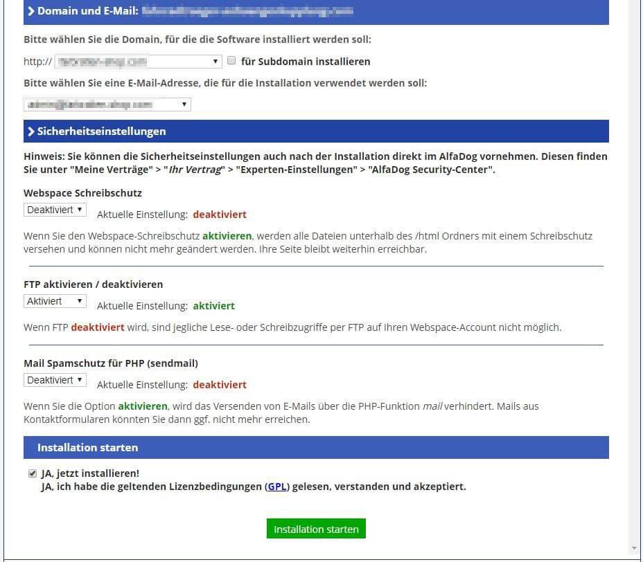 Alfahosting - Software - Blogs - WordPress - Installation von WordPress - 2