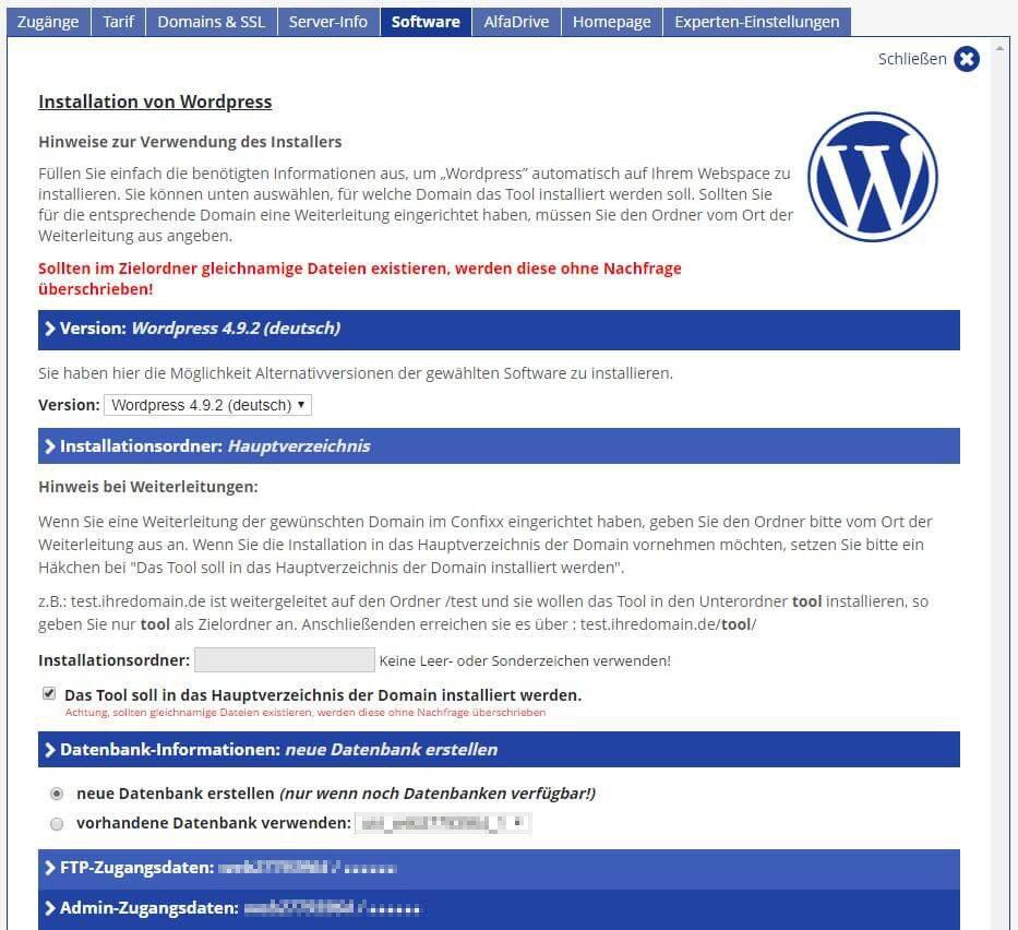 Alfahosting - Software - Blogs - WordPress - Installation von WordPress - Teil 1