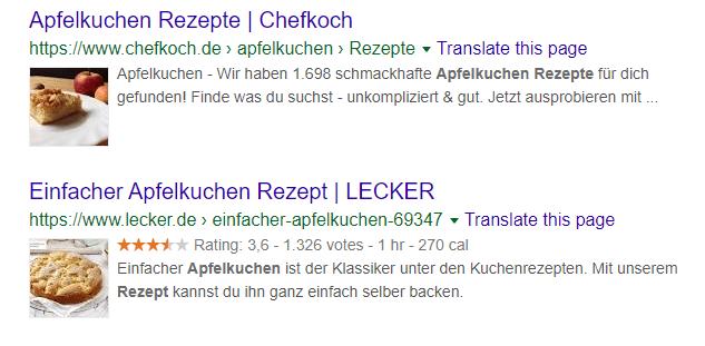 Rich Snippets - Google Suchergebnisse