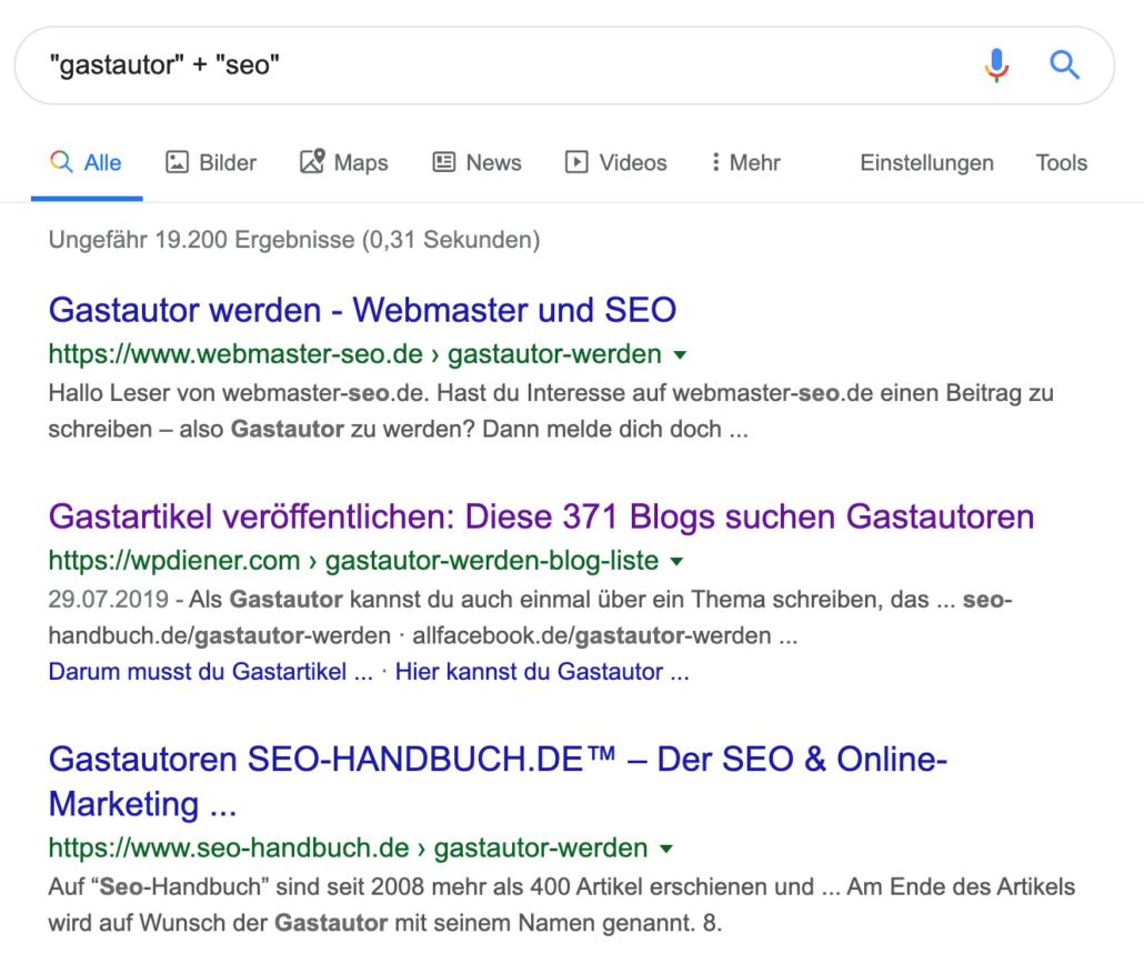 Gastautoren suche über Suchbefehle in Google